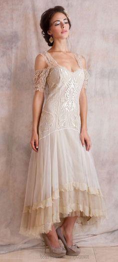 Venetian  Cream Vintage Dress Downton Abbey Fashion