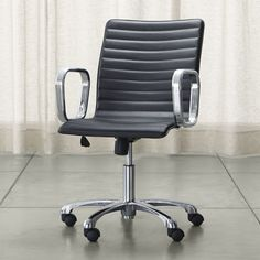 Ripple Black Leather Office Chair - Crate and Barrel Red Office Chair, Swivel Office Chair, Ikea Chair, Home Office Chairs, Diy Chair, Office Furniture, Cheap Office Chairs, Cheap Chairs, Chairs For Sale