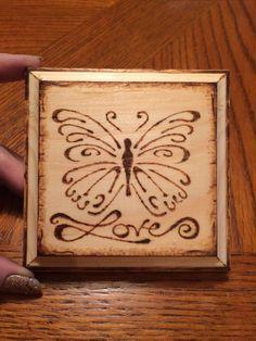 Wood burned butterfly block!