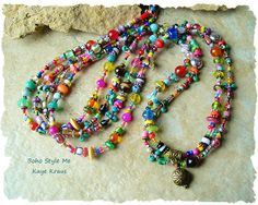 Bohemian Jewelry Colorful Beaded Necklace Modern by BohoStyleMe