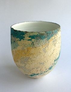 Ceramics by Clare Conrad at Studiopottery.co.uk - 2012. The broken surface bridges between clay and painting.