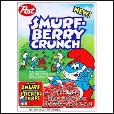 Vintage Breakfast Cereals | ... Magnet SMURF BERRY CRUNCH BREAKFAST CEREAL 80s Retro | eBay