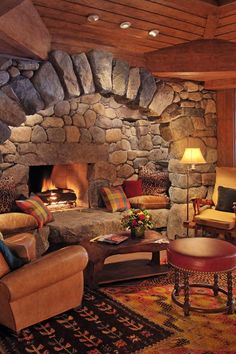 Rustic but grand interiors create the impression of being at a friend's fabulous hunting lodge. #Jetsetter