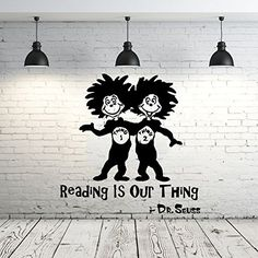 """Dr Seuss Wall Decal Quote Vinyl Sticker Decals Quotes Reading Is Our Thing Wall Decal Quote Wall Decor Nursery Bedroom Baby Room ZX240. ✰ This Dr Seuss Quote DECAL is shipped and sold ONLY by IncredibleDecals (the USA Company)! Please be sure you buy from us before click """"Add to cart"""" otherwise you can buy the poor quality decal from other sellers!. ✰ COLOR CHOICE! Please leave your color choice in the MESSAGE when purchasing. If we do not receive a message during 24 hours, you will get..."""