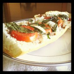 Tomato, Basil, and Mozzarella sandwich toasted with a balsamic and olive oil drizzle... and salt and pepper of course