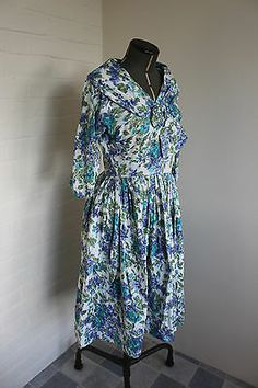 Vintage 1950s china patterned floral blue, green and white printed cotton dress | eBay