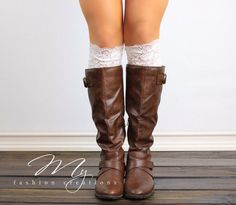 White Lace Boot Cuff Faux Lace Boot Topper by myfashioncreations, $14.99