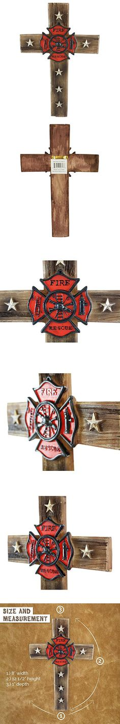 Pine Ridge Firefighter Fire and Rescue Wall Cross Home Decor- Religious Christian Wood Look Maltese Decoration with Star Accents and Fireman Shield Centerpiece -VolunteerDepartment Gift Collectibles