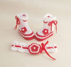 #christmas #baby #socks and headband, baby – a unique product by tappleta on DaWanda