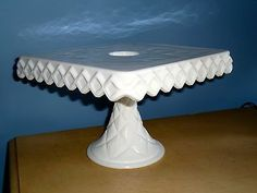 VTG CAKE STAND INDIANA WHITE MILK GLASS SQUARE RUM WELL PEDESTAL PLATE CUPCAKES