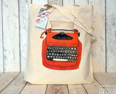 Orange Typewriter Illustration Eco Cotton Tote by ceridwenDESIGN
