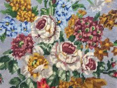 """Rescued vintage blue floral needlepoint remade into a 14"""" cushion cover available at KindredClassics on Etsy Needlepoint Kits, Upcycled Vintage, Beautiful Hands, Vintage Floral, Hand Stitching, Pillow Covers, Cross Stitch, Cushions, Tapestry"""