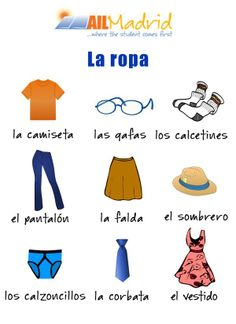 vocabulario: la ropa ✿ Spanish Learning/ Teaching Spanish / Spanish Language / Spanish vocabulary / Spoken Spanish ✿ Share it with people who are serious about learning Spanish!