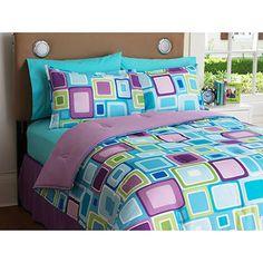 Purple, Aqua, and Green Squares - Comforter