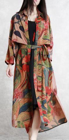de97fb976f Natural tie waist silk clothes For Women top quality Work print Maxi coats