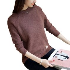 Winter Women sweaters fashion Autumn pullovers sweaters o-neck loose  knitted sweater casual Basic tops cbbcf34ea