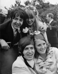 Mike McCartney's wedding day --- Paul and brother Mike. Whoops !! Before he met Linda... that's Jane Asher. Forget herrr.