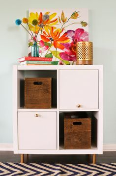 DIY Gold Abstract Geometric Door Pulls - ikea hack of a kallax or expedit with handmade gold knobs and spray painted feet.