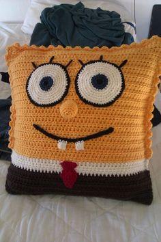Cojines A Crochet Ideas Spongebob Squarepants Crochet Cushion Crochet Ideas Cojines De Crochet Simple, Crochet Diy, Crochet Patterns Amigurumi, Crochet Home, Crochet For Kids, Crochet Ideas, Minion Crochet Patterns, Minion Pattern, Crochet Cushions