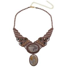 Leju Statement Macrame and Multi Stone Necklace ($171) ❤ liked on Polyvore featuring jewelry, necklaces, multi stone necklace, leju, macrame jewelry, macrame necklace and crochet jewelry