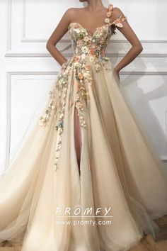 Flower prom dress - Stylish One Shoulder Strap Tulle Prom Dress Sexy Sweetheart Front Slit Appliques Flowers Prom Dress – Flower prom dress Evening Dresses Uk, A Line Prom Dresses, Tulle Prom Dress, Ball Dresses, Prom Dresses Flowers, Summer Dresses, Corset Prom Dresses, Floral Prom Dress Long, Tulle Flowers