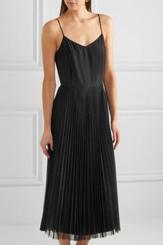Victoria, Victoria Beckham | Silk-satin and pleated tulle dress | NET-A-PORTER.COM