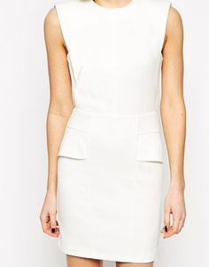 Enlarge ASOS Mini Pencil Dress In Rib With Structured Shoulder. USA system appropriate.