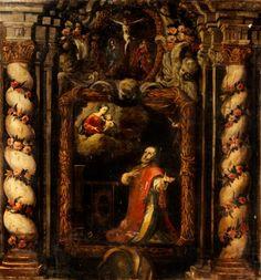"""35014857. Escuela española del siglo XVII. """"Aparición de la Virgen a san Lorenzo de Brindisi"""". Óleo sobre lienzo. Medidas: 224 x 206 cm."""