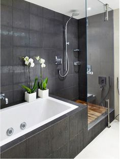 Love this layout for separate bath and shower!