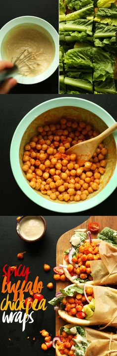 """Completed recipe: Buffalo Chickpea Wraps.These are ok, but I definitely prefer buffalo cauliflower. In the end, I just wanted to have chickpea """"tuna"""" salad, which is IMO the best use of chickpeas in a wrap. 3/5"""