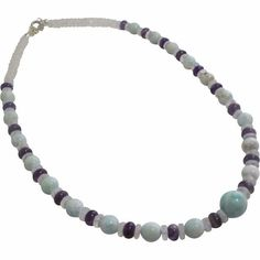 Larimar, Amethyst, and Moonstone necklace.