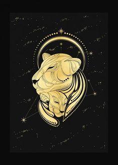 Mother Lion gold foil print on black paper by Cocorrina & Co design studio Sagittarius Constellation, Constellation Tattoos, Symbole Tattoo, Leo Tattoos, Lion Art, Zodiac Art, Animal Totems, Artsy, Sketches