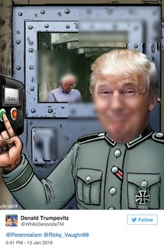 "Trump re-tweeted an image of Jeb Bush in front of the Trump Towers, holding up a ""Vote for Trump"" sign.  Seems innocuous enough. Until you see the account it's retweeted from: @WhiteGenocideTM, a white supremacist account. Sadly,  @WhiteGenocideTM shows Trump in a Nazi uniform flipping on the gas switch on a gas chamber housing… Jewish candidate Bernie Sanders.  (I blurred the image so that this would not be suitable for passing on to other Trump supporters.)"