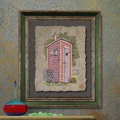 Nostalgic bathroom art Cute privy print adds  by TwoBananasArt, $20.00