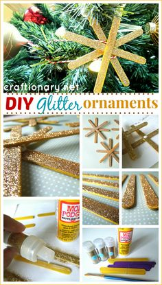 Make DIY glitter snowflakes. An easy tutorial to make snowflake ornaments for Christmas tree with kids this Holiday season. All you need popsicles, glitter Noel Christmas, Christmas Crafts For Kids, Christmas Projects, All Things Christmas, Holiday Crafts, Holiday Fun, Kid Projects, Holiday Ideas, Christmas Ideas
