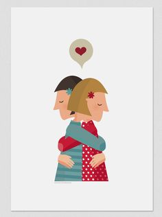 Illustration Hug I by Tutticonfetti on Etsy Illustration Mignonne, Love Illustration, Hugs, Cool Sketches, Mural Art, Art Art, Drawing People, Illustrations Posters, Customized Gifts