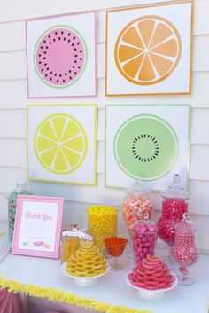 Candy Buffet from a Fruity Lemonade Stand Birthday Party via Kara's Party Ideas | KarasPartyIdeas.com (39)