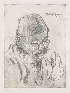 Bernard Leach (1887-1979)  Portrait of Ogata Kenzan VI, 1924  Posthumously printed soft ground etching, signed in the plate BL '24, numbered in pencil 18/25, framed and glazed 20.2 x 14.9cm. (the plate)