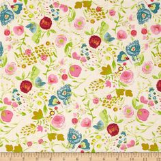 Art Gallery Emmy Grace Budquette Dayspring from @fabricdotcom  Designed by Bari J. Ackerman for Art Gallery, this cotton print fabric is perfect for quilting, apparel and home decor accents. Art Gallery Fabric features 200 thread count of finely woven cotton. Colors include pink, mustard gold, lime, cherry red, teal blue, powder blue, and cream.