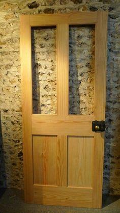 Shaker cottage or london plain style half glaze pine door Victorian Internal Doors, Pine Internal Doors, Pine Doors, Kitchen Interior, Interior Doors, Interior Design, Door Crafts, Reclaimed Doors, Stained Glass Door
