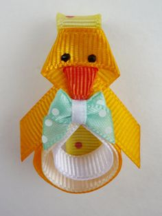 Easter Chick Ribbon Sculpture hair clip