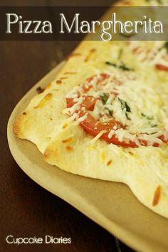 Pizza Margherita from cupcakediariesblog.com   #pizza #recipe