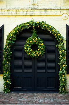 Lemon wreath and lemon arch. Christmas or wedding at William Aiken House.