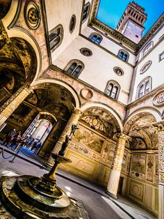 A courtyard at Palazzo Vecchio (Town Hall) in Florence, Italy