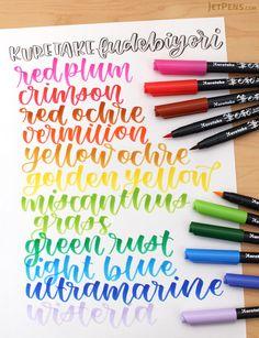 Create drawings in vibrant, traditional Japanese colors with the Kuretake Fudebiyori Brush Pens.