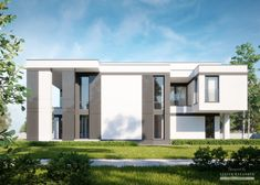 Two storey house in modern style with usable area House with a large garage. Minimum size of a plot needed for building a house is m. Balcony Doors, Two Storey House, Home Catalogue, Reinforced Concrete, Types Of Houses, Interior Walls, Ground Floor, Home Projects, Facade