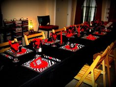My LBD (Little Black Dress) Themed 21st Birthday Party! My mommy did it all just for me! PS... All plates (salad and dinner), napkins, & napkin rings ARE PAPER or can be thrown away!!! She got wone glasses and made red and black beaded charms for the bottoms and bought a couple other things to decor the bale with and BAMM... A CUTE LBD RED AND ZEBRA WINE PARTY!!! SOOOOO fun and easy... <3Kelsi Wetzel