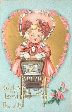 WITH LOVING THOUGHTS  girl in red pushes pram in front of gilt heart surrounded by forget-me-nots