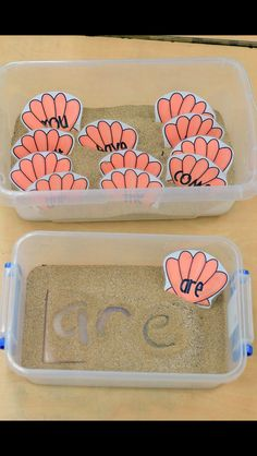 Writing Center Activities: Sight word shells are a fun way for students to practice writing sight words, as well as forming letters properly. Students are to write the sight word printed on each shell in the sand using their finger. Kindergarten Centers, Kindergarten Literacy, Learning Centers, Literacy Centers, Fun Learning, Writing Centers, Writing Area, Literacy Stations, Learning Spanish