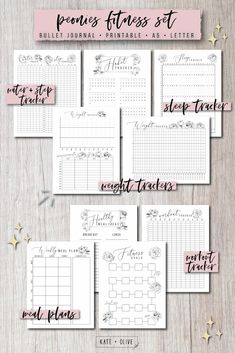 Bullet Journal FITNESS Set of printable planners – Insert templates Planner Inserts, Planner Template, Printable Planner, Printables, Bullet Journal Fitness, Notes Template, Templates, Printable Workouts, Tangle Patterns